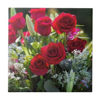 Bright Romantic Red Rose Bouquet Ceramic Tile