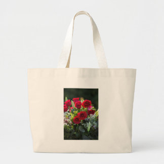 Bright Romantic Red Rose Bouquet Large Tote Bag
