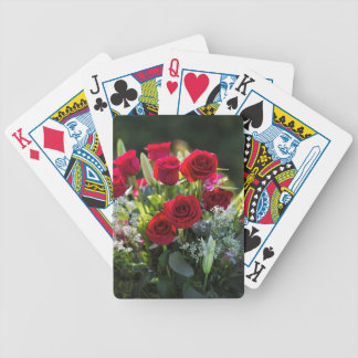 Bright Romantic Red Rose Bouquet Poker Deck