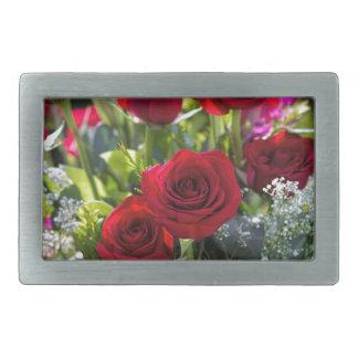 Bright Romantic Red Rose Bouquet Rectangular Belt Buckles