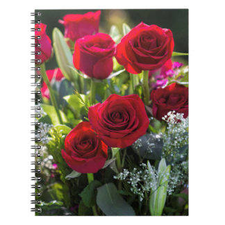 Bright Romantic Red Rose Bouquet Spiral Note Books