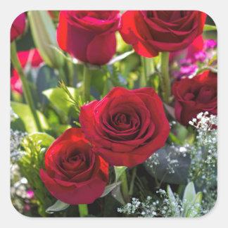 Bright Romantic Red Rose Bouquet Square Sticker