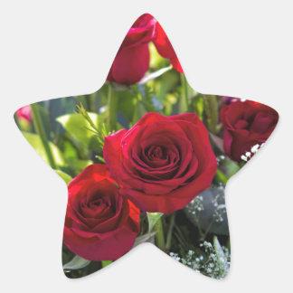 Bright Romantic Red Rose Bouquet Star Sticker