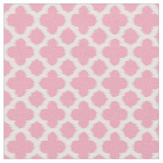 Bright Rose Pink White Ikat Quatrefoil Pattern Fabric