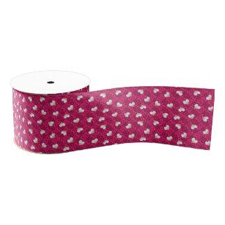 Bright Rose Pink with Hearts Ribbon Grosgrain Ribbon