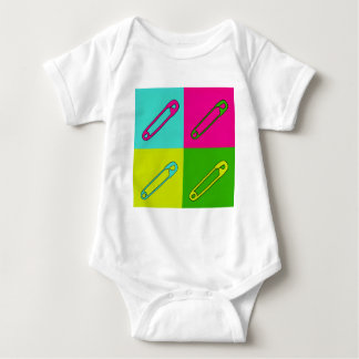 Bright safety pins modern art baby bodysuit