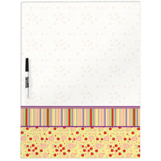 Bright Scattered Strawberry Swirl Pattern - Border Dry Erase Board