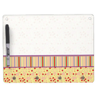 Bright Scattered Strawberry Swirl Pattern - Border Dry Erase Boards