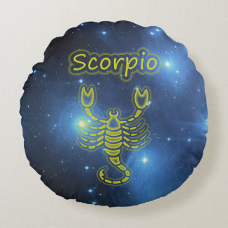 Bright Scorpio Round Pillow
