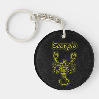 Bright Scorpio Single-Sided Round Acrylic Keychain
