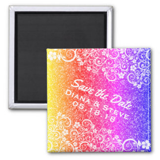 Bright Scrolls Glitter Wedding | Save the Date Square Magnet