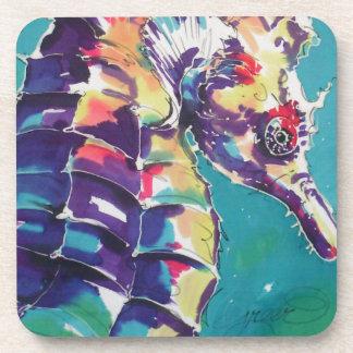 Bright Seahorse Silk Painting Drink Coaster