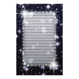 Bright Shining Stars In Space Lined Stationery