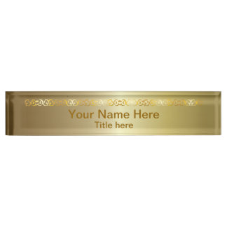 Bright Shiny Gold   DIY Name and Title Nameplate