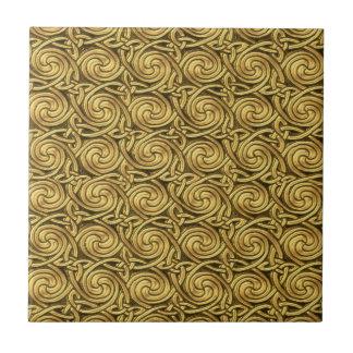 Bright Shiny Golden Celtic Spiral Knots Pattern Tile