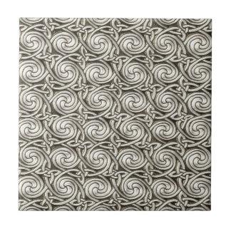 Bright Shiny Silver Celtic Spiral Knots Pattern Ceramic Tiles
