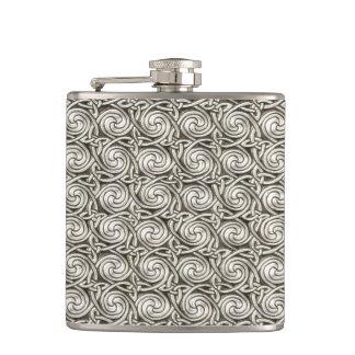 Bright Shiny Silver Celtic Spiral Knots Pattern Hip Flask