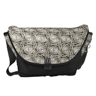 Bright Shiny Silver Celtic Spiral Knots Pattern Messenger Bags