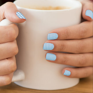 Bright Sky Blue & White Gingham Pattern Minx Nail Art