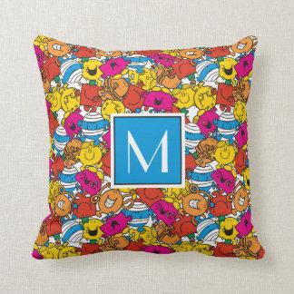 Bright Smiling Faces | Monogram Throw Pillow