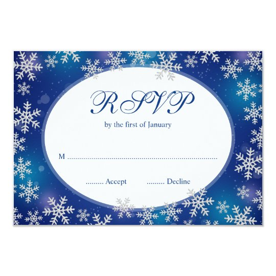Bright Snowflakes Blue White Winter RSVP Card
