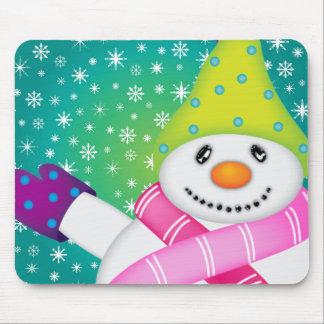 Bright Snowmen LET IT SNOW! Mouse Pad