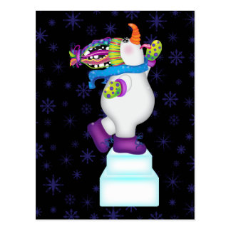 Bright Snowmen LET IT SNOW! Postcard