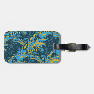 Bright sophisticated paisley floral pattern bag tag