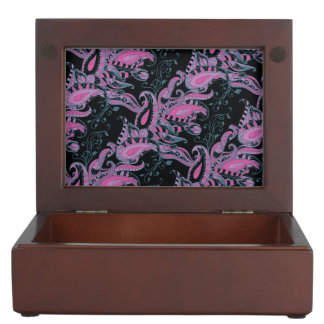 Bright sophisticated paisley floral pattern memory boxes