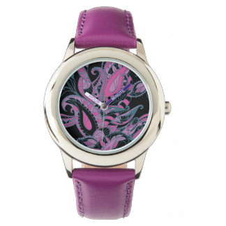 Bright sophisticated paisley floral pattern wrist watch