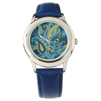 Bright sophisticated paisley floral pattern wrist watches