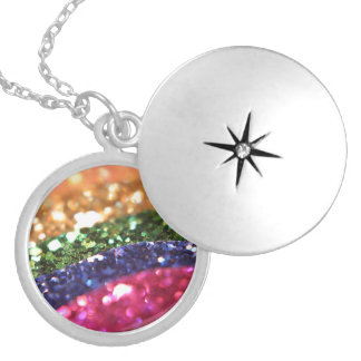 Bright Sparkle Glitter Rainbow Art Designer Silver Plated Necklace