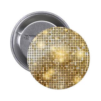 Bright sparkling golden sequin glitters disco ball 2 inch round button