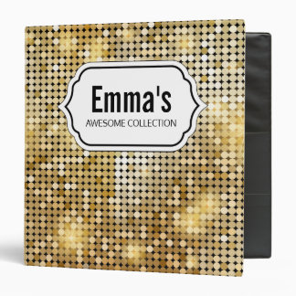 Bright sparkling golden sequin glitters disco ball 3 ring binders
