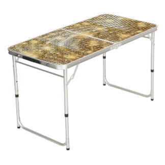 Bright sparkling golden sequin glitters disco ball beer pong table
