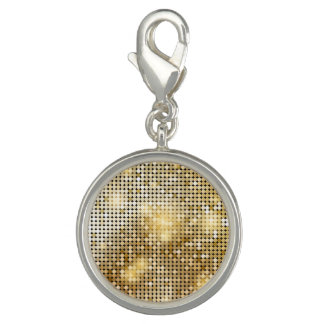 Bright sparkling golden sequin glitters disco ball charm