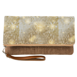 Bright sparkling golden sequin glitters disco ball clutch