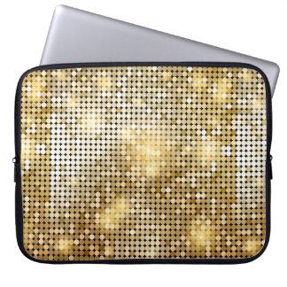 Bright sparkling golden sequin glitters disco ball computer sleeve