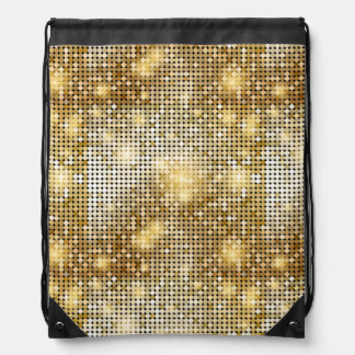 Bright sparkling golden sequin glitters disco ball drawstring bag