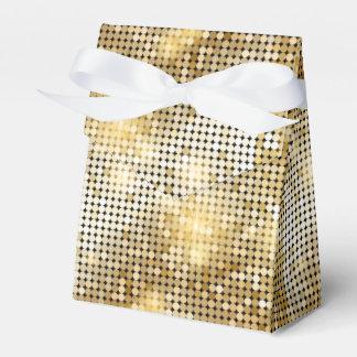 Bright sparkling golden sequin glitters disco ball favor box