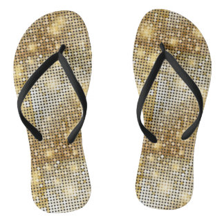 Bright sparkling golden sequin glitters disco ball flip flops
