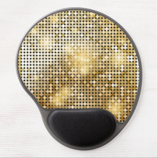 Bright sparkling golden sequin glitters disco ball gel mouse pad