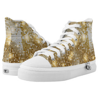 Bright sparkling golden sequin glitters disco ball high tops