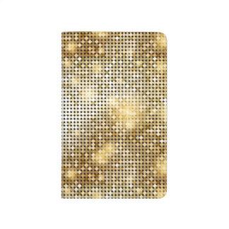 Bright sparkling golden sequin glitters disco ball journal