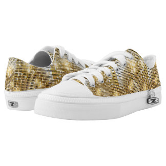 Bright sparkling golden sequin glitters disco ball Low-Top sneakers