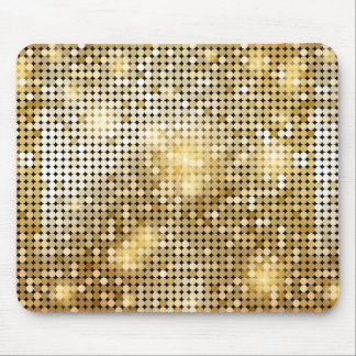 Bright sparkling golden sequin glitters disco ball mouse pad