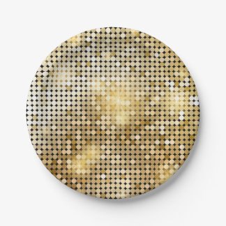 Bright sparkling golden sequin glitters disco ball paper plate