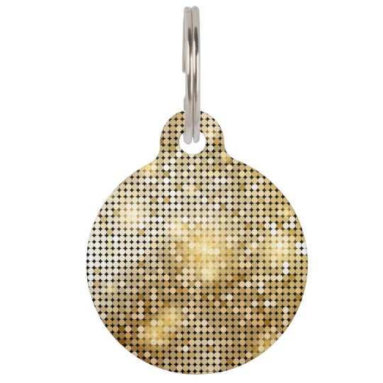 Bright sparkling golden sequin glitters disco ball pet ID tag
