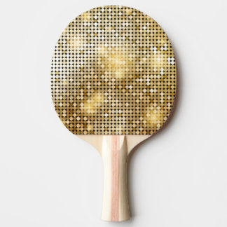 Bright sparkling golden sequin glitters disco ball ping pong paddle