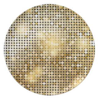 Bright sparkling golden sequin glitters disco ball plate